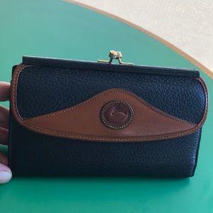 Dooney & Bourke Brown & Navy Leather Vintage Walle
